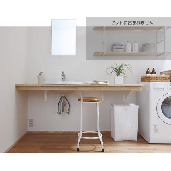 洗面化粧台 無垢の木の洗面台 間口1685mm ボウル位置片寄せ仕様 メープル糸面(幕板付)カウンター WA-007