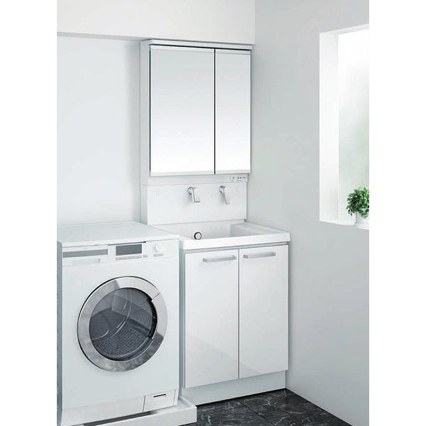 洗面化粧台 サクア 間口600mm 2枚扉タイプ 二面鏡LED照明エコミラー 扉カラー:オプティホワイト 一般地用