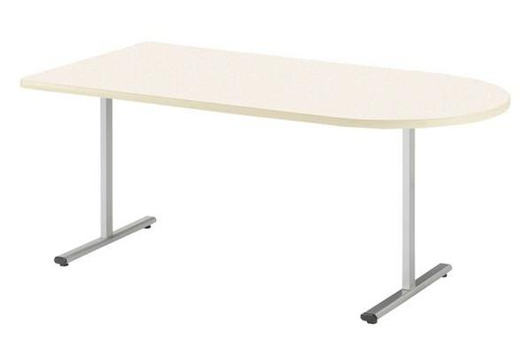 【受注生産品】会議テーブル 半楕円型 対立脚 幅1500×奥行750×高さ700mm [KRT-1575HR]