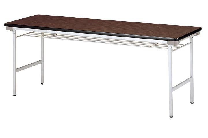 【受注生産品】会議テーブル 折りたたみアルミ脚 棚付 幅1800×奥行600×高さ700mm 【KU-1860A】