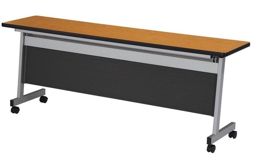 【高さ720mm】【受注生産】フラップ式会議テーブル 樹脂パネル付 幅2100×奥行600×高さ720mm 【LHA-2160HP】
