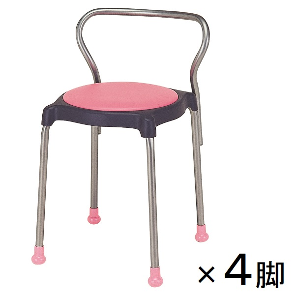 【4脚セット】スツール 丸椅子 キュポB レザー張り 背付き 1箱(同色4脚入) 送料別 [cuppo-B]