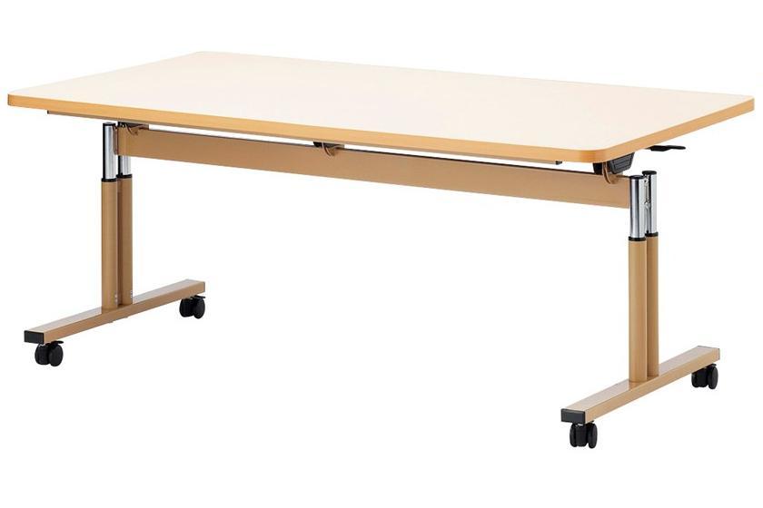 福祉施設用昇降式テーブル 天板フラップ式 幅900×奥行900×高さ660-800mm [FIT-0909S]