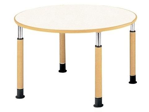 福祉施設用テーブル ラチェット式高さ調節 半円型(写真は円形型です。) 幅1800×奥行900×高さ600-800mm 【FPS-1890HR】