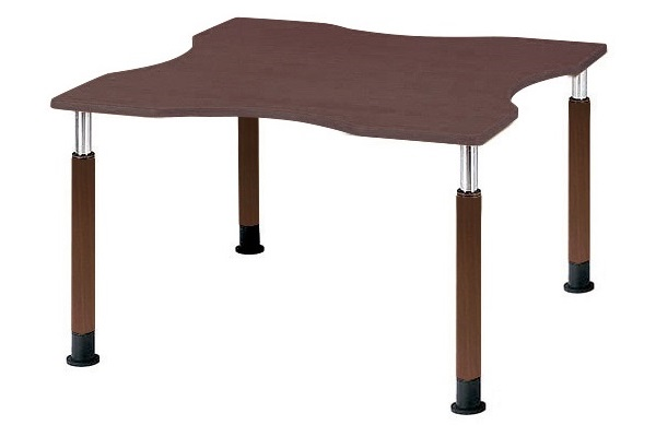 福祉施設用テーブル ラチェット式高さ調節 波型 幅1200×奥行1200×高さ600-800mm 【FPS-1212Q】