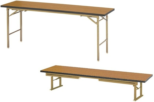 【受注生産品】座卓兼用会議テーブル 脚折式 ソフトエッジ巻天板 間口1800×奥行600×高さ700(330)mm 【KZB-1860S】