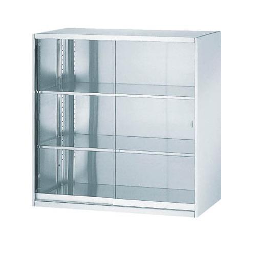 (上下兼用)ステンレス収納庫 ガラス引戸型 (鍵なし)幅900×奥行500×高さ900mm [SS-09G]