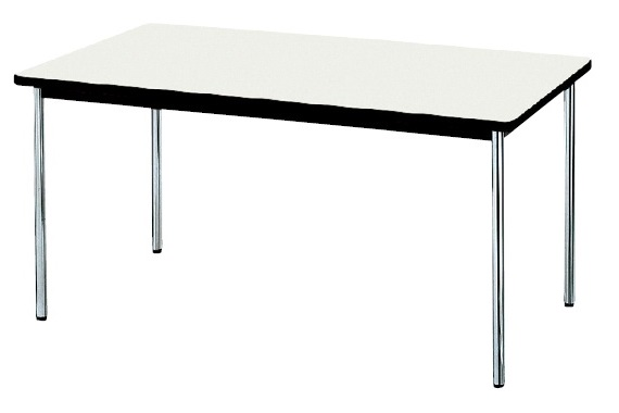 【受注生産品】会議テーブル ステンレス丸脚 ソフトエッジ巻天板 W1500×D750×H700mm [AK-1575SS]