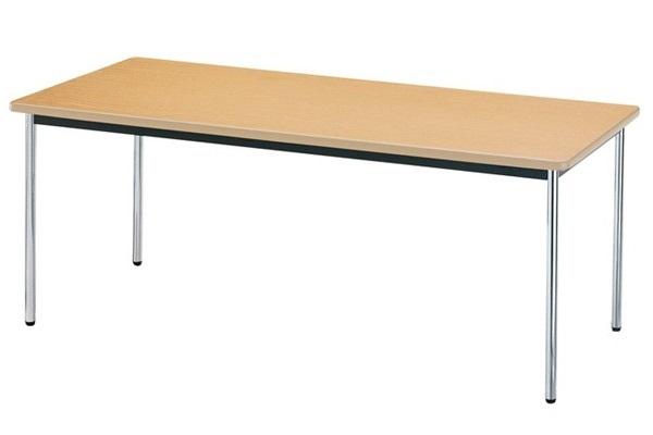 【受注生産品】会議テーブル メッキ丸脚 ソフトエッジ巻天板 W1800×D450×H700mm [AK-1845SM]