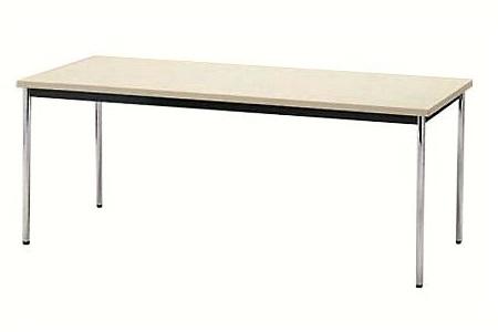 【受注生産品】会議テーブル ステンレス丸脚 共巻天板 W1800×D600×H700mm [AK-1860TS]