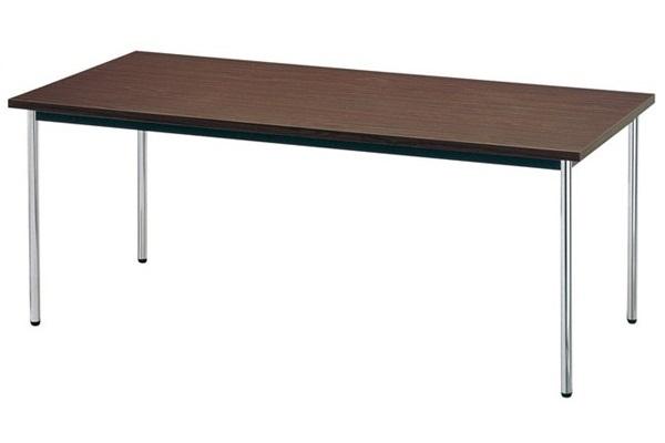 【受注生産品】会議テーブル ステンレス丸脚 共巻天板 W750×D750×H700mm [AK-7575TS]