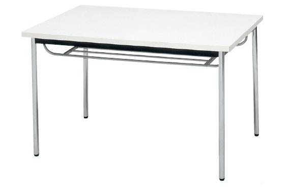 【受注生産品】会議テーブル 棚付 ステンレス丸脚 共巻天板 W750×D750×H700mm [CK-7575TS]