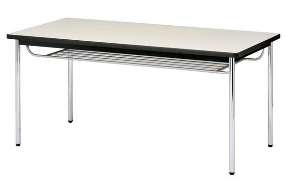 【受注生産品】会議テーブル 棚付 メッキ丸脚 ソフトエッジ巻天板 W1800×D750×H700mm [CK-1875SM]