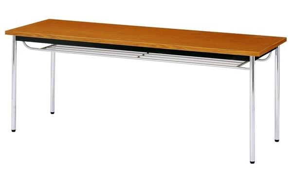【受注生産品】会議テーブル 棚付 ステンレス丸脚 共巻天板 W1800×D900×H700mm [CK-1890TS]