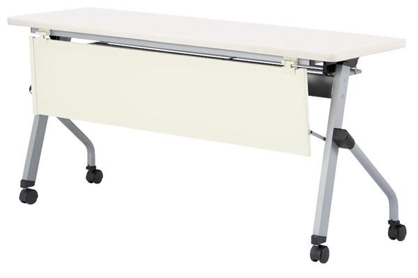 【受注生産品】フラップ式会議テーブル 樹脂パネル付 幅1800×奥行450×高さ700mm 【HLS-1845P】
