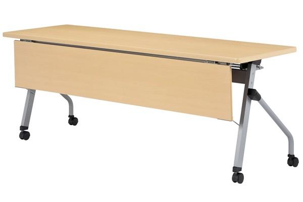 【受注生産品】フラップ式会議テーブル 天板同色化粧板前パネル付 幅1800×奥行600×高さ700mm 【HLS-1860KP】