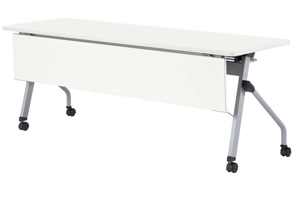 【受注生産品】フラップ式会議テーブル 天板同色化粧板前パネル付 幅1500×奥行600×高さ700mm 【HLS-1560KP】