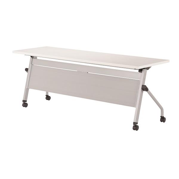 【受注生産品】フラップ式会議テーブル 化粧板パネル付 幅1800×奥行600×高さ700mm 【LCJ-1860P】