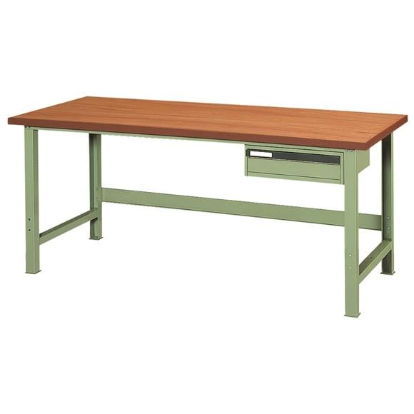 作業台(ワークベンチ)木天板1段引出し付 幅900×奥行700×高さ730mm 【WE-31M】