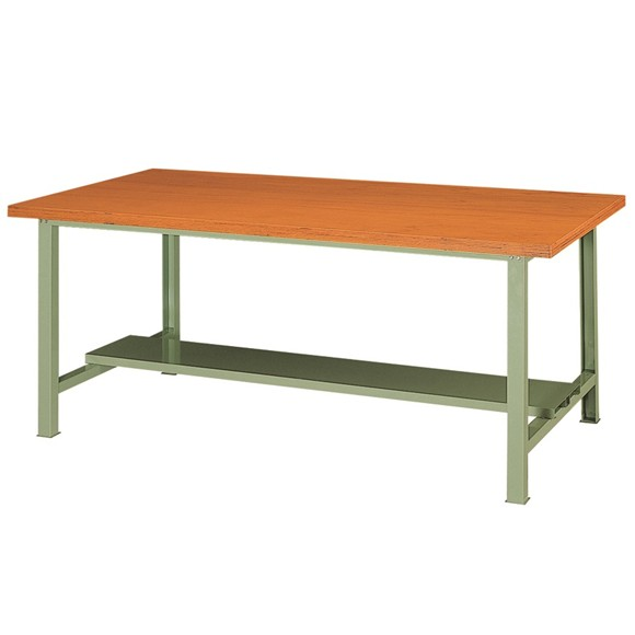 (耐荷重1000kg)対面型作業台(ワークベンチ)木天板 下棚付幅1800×奥行900×高さ735mm 【WT-1820】