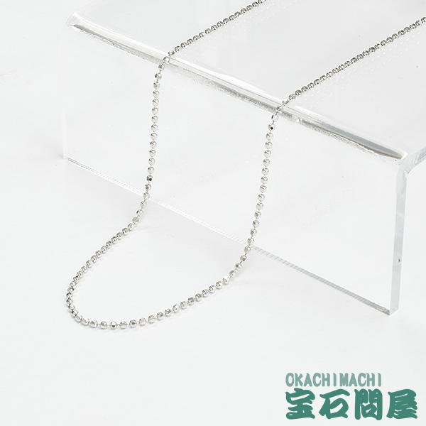 K18WG ホワイトゴールド カットボール ネックレス 45cm 4.2g 1.5mm ホワイトゴールドチェーン 18白金 アジャスターチェーン 新品