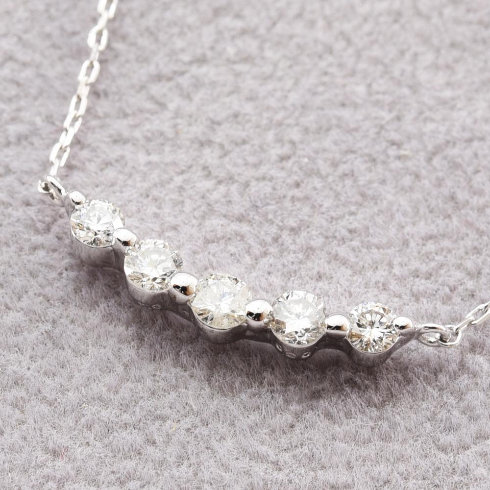 ダイヤモンド 0.20 ネックレス ライン K18WG 新品磨き仕上げ 中古 / obej