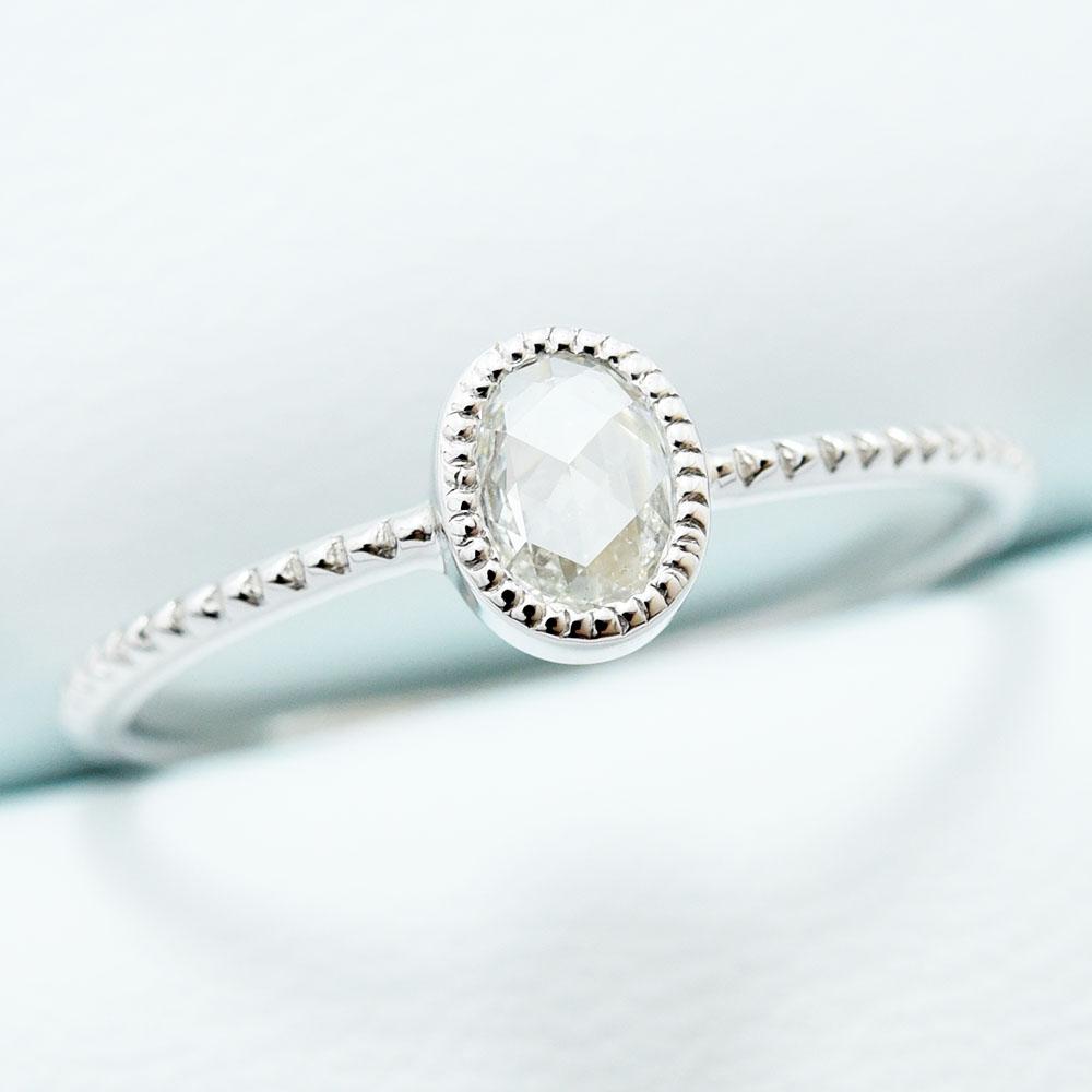 ローズカット ダイヤモンド リング 0.195 低価格 E VS2 サイズ直し無料 約11号 新品 新品 送料無料 PT900 指輪 1P
