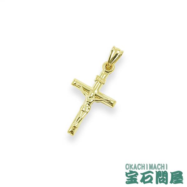 K18 キリスト INRI Sサイズ 丸棒タイプ イエローゴールド クロス ペンダントトップ 十字架 モチーフ 750 18金 新品