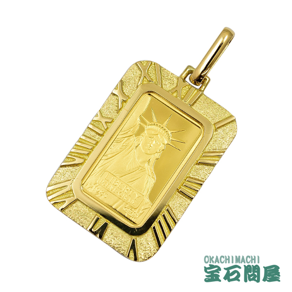 コイントップ K24 純金 自由の女神インゴット ペンダントトップ K18枠付き クレジットスイス社 リバティ・インゴット 2.0g ゴールドカラー 新品