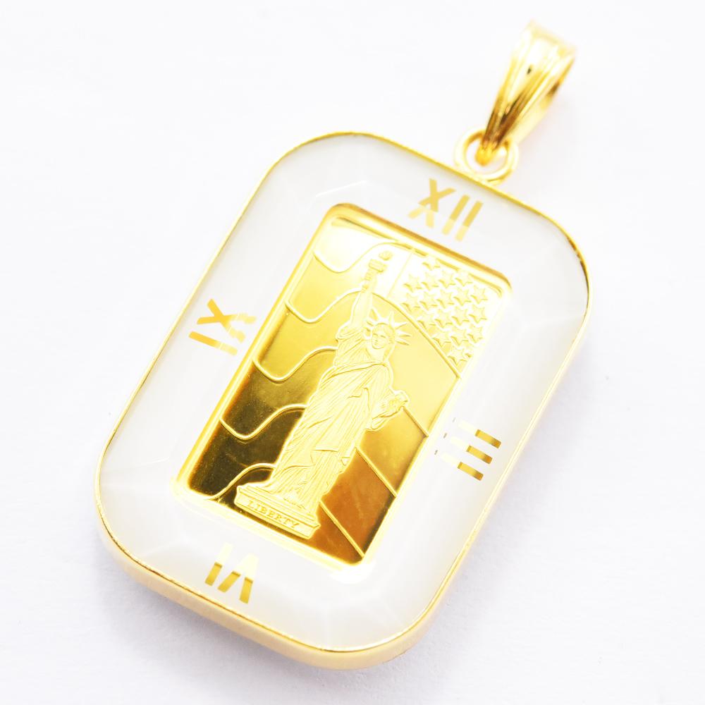 コイントップ K24 純金 自由の女神インゴット ペンダントトップ K18枠付き クレジットスイス社 星条旗 リバティ・インゴット 1.0g ホワイトカラー クリスタルガラス 新品