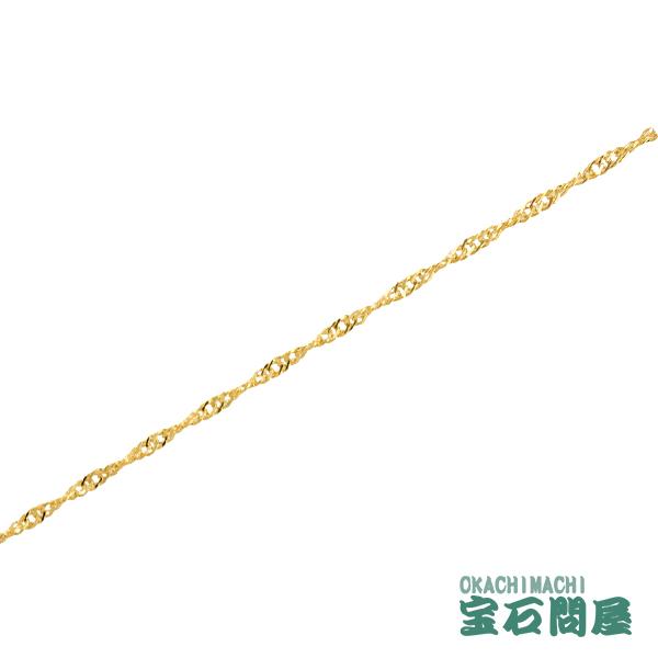 K18 スクリューチェーン ブレスレット 1.8mm幅 18cm 造幣局刻印 ホールマーク ゴールド 18金 新品 033