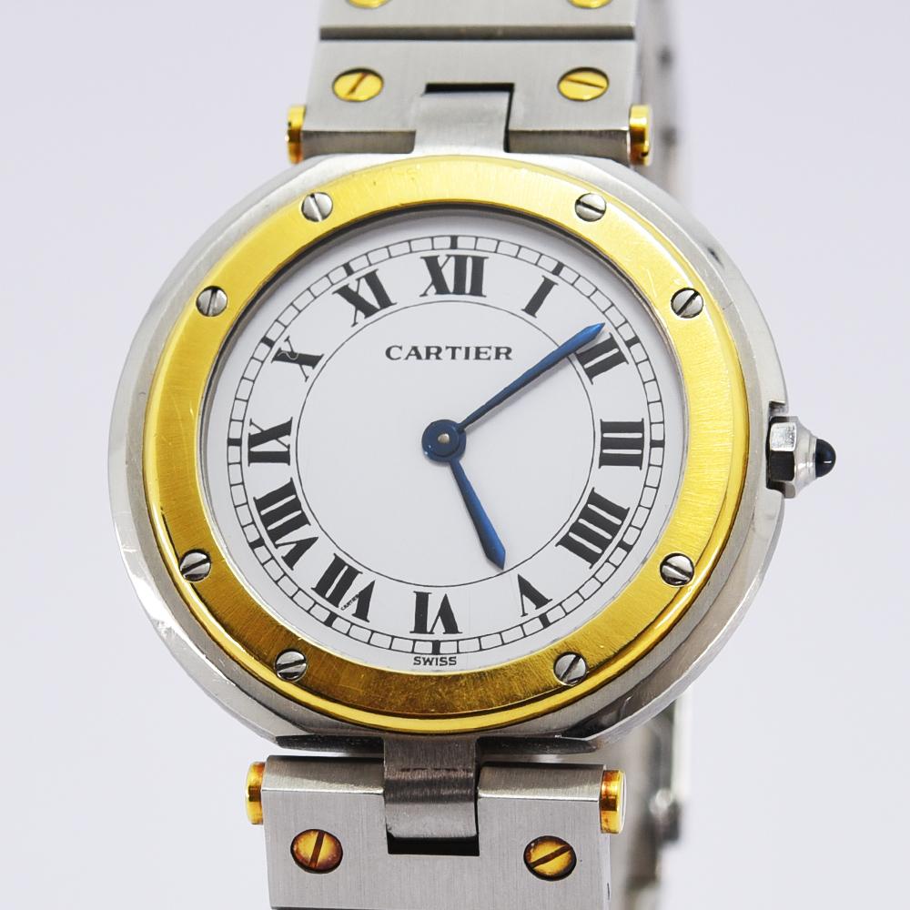 カルティエ 時計 レディース Cartier クォーツ サントス ラウンド YG SS ステンレススチール ホワイト 中古