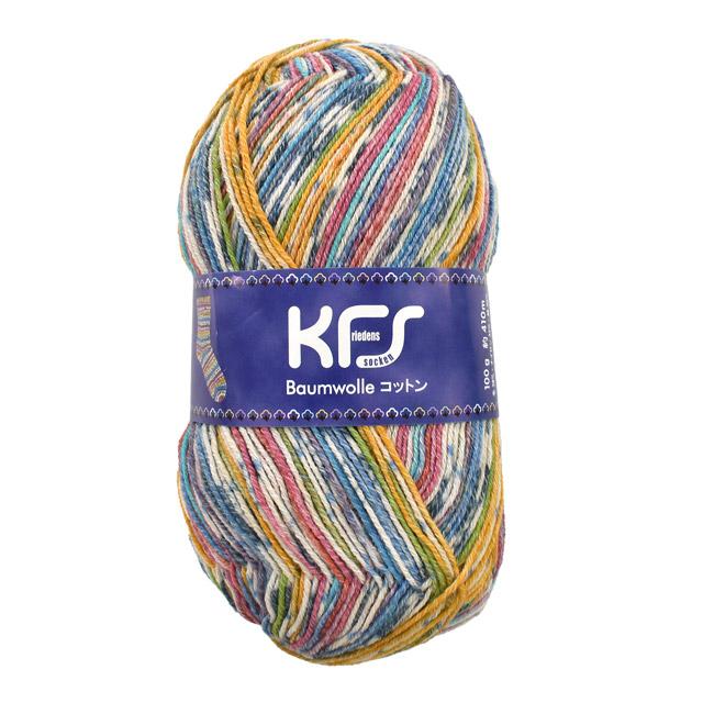 毛糸 Opal-オパール- オリジナルコットン KFS148.ドライ/イエロー・ブルー系マルチカラ― (M)_b1j