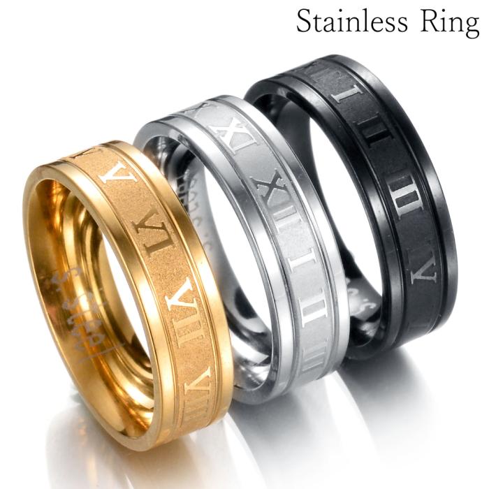 安心のステンレス製 ステンレス リング ローマ数字 指輪 シルバー ゴールド ブラック 出群 35%OFF メンズ レディース