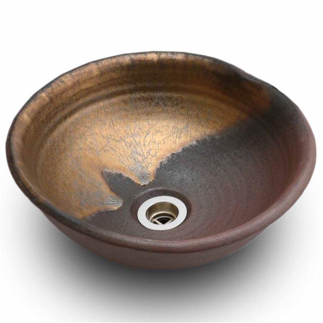 信楽焼 利休信楽手洗い鉢ボウル020黄金焼締め重蔵窯手洗鉢 和風洗面台 和モダン 洗面所 洗面ボール 手洗い器 洗面台