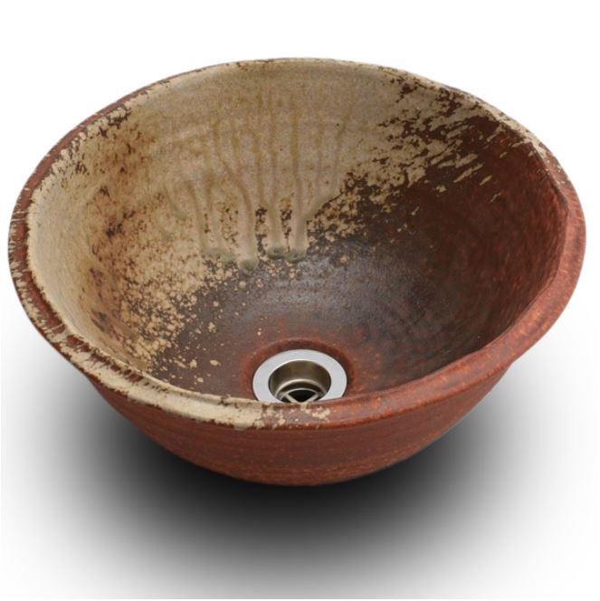 【送料無料】信楽焼 利休信楽手洗い鉢ボウル021木灰窯変重蔵窯手洗鉢 和風洗面台 和モダン 洗面所 洗面ボール 手洗い器