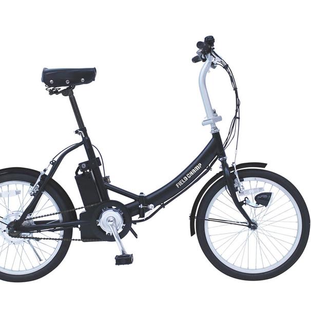 20インチ電動アシストノーパンク折畳み自転車FDB20E(ブラック)KH-DCY310NEFIELD CHAMP/フィールドチャンプミムゴ【送料無料】折りたたみ 20型 型式認定番号ハンドル折畳 LEDライト シングルギアPSEマーク フレックスタイヤ