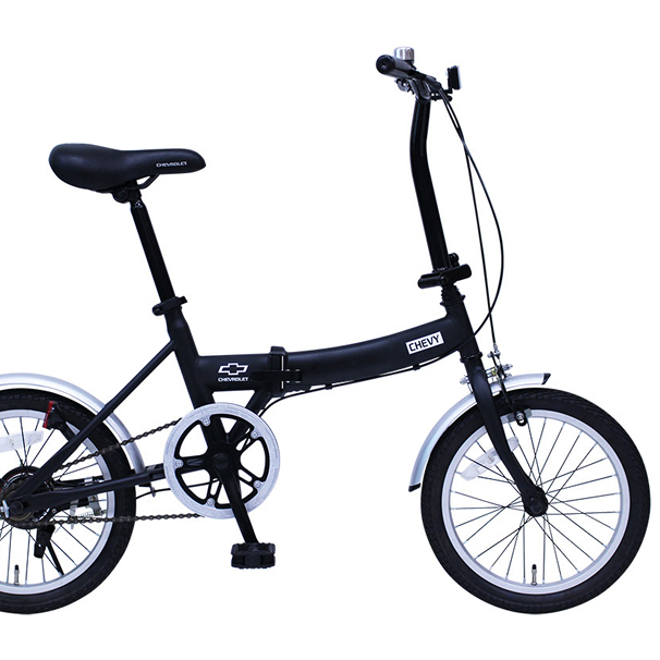 CHEVROLET/シボレー 16インチ折畳み自転車FDB16G(ブラック)MG-CV16G ミムゴ【送料無料】折りたたみ 16型 ハンドル折りたたみシマノ製変速ギア シングルギア