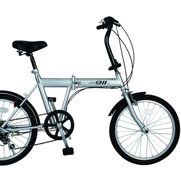 20インチ ノーパンク折畳み自転車 FDB206S(シルバー)MG-G206N ACTIVE911ミムゴ【送料無料】折りたたみ 20型 6段変速ギア ハンドル折りたたみアクティブ フレックスタイヤ シマノ製変速ギア