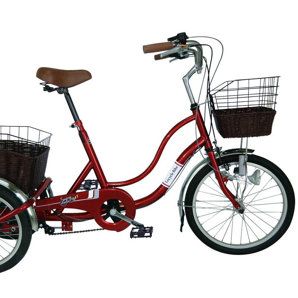 フロント20インチスイング機能付ノーパンク三輪自転車MG-TRW20NG(ワインレッド)SWING CHARLE911/スイングチャーリー911ミムゴ 【送料無料】リアバスケット LEDライト 低床 シングルギア フレックスタイヤ