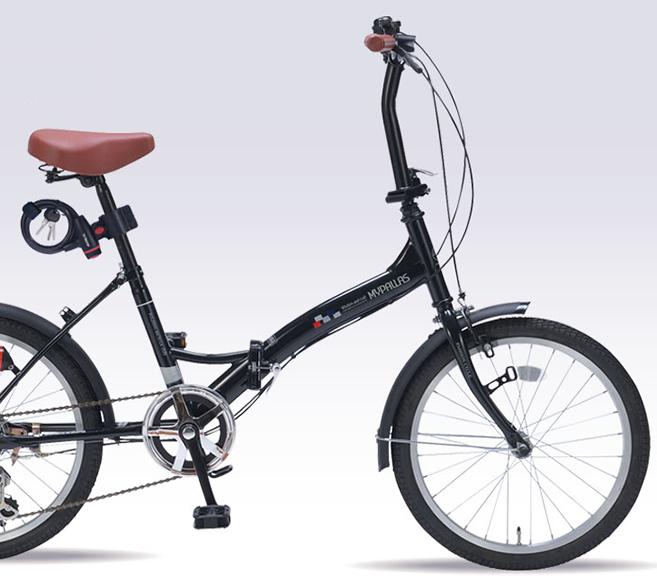 LEDライト 6段変速 20・6SP20型 M-209OS-BK 折りたたみ2020年モデル ブラックMyPallas/マイパラス ホルダー付ワイヤーロック 20インチ折畳自転車