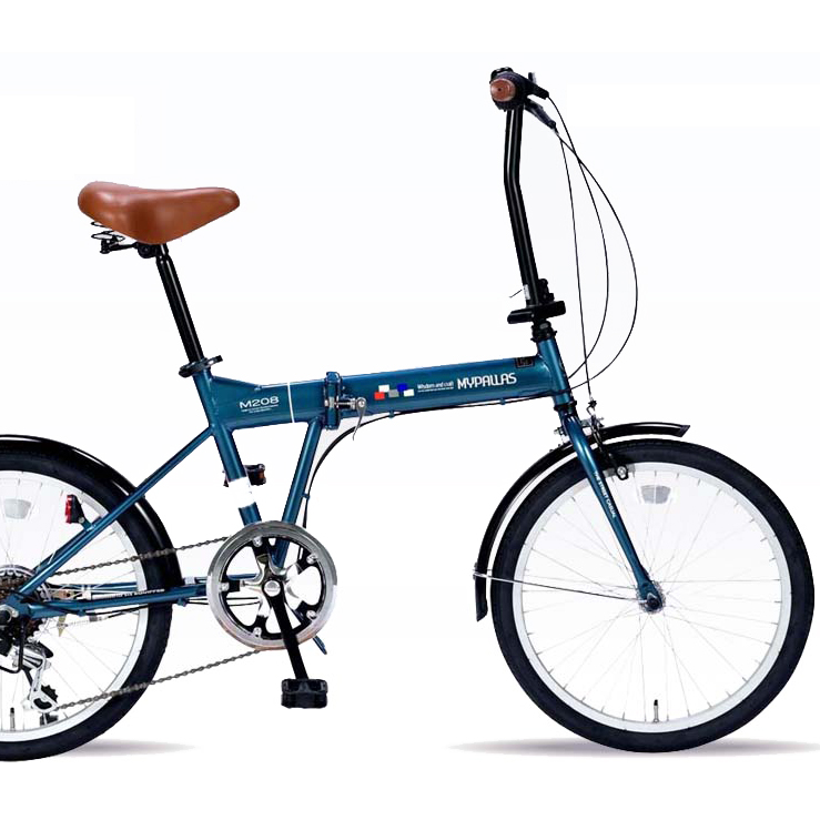 【セール】20インチ折りたたみ自転車 M-208-OC(オーシャン)マイパラス 6段ギア付き【送料無料】折畳自転車 シマノ製変速 カジュアル