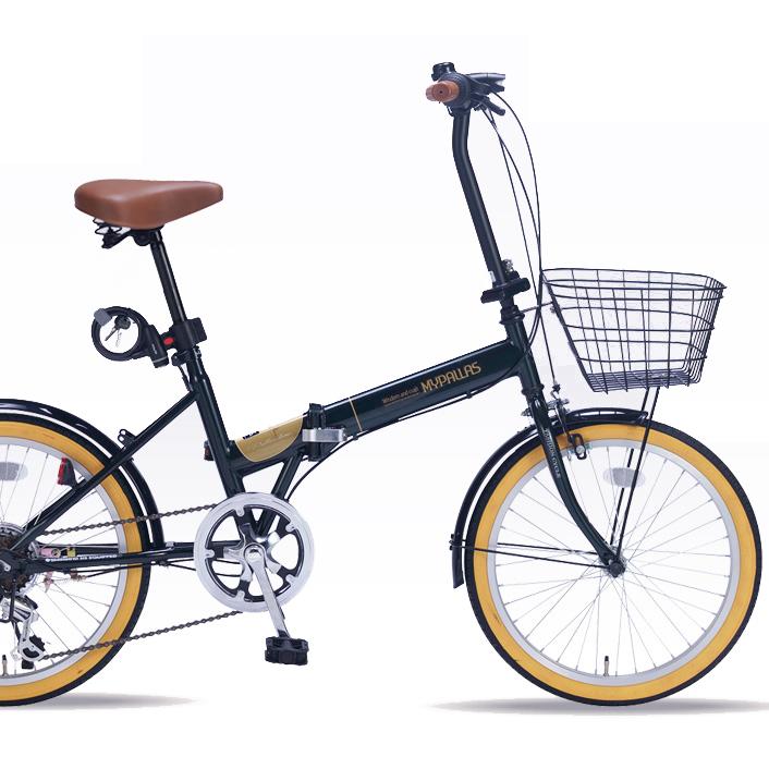 20インチ折りたたみ自転車 M-252-GR グリーンマイパラス【送料無料】20型6段変速ギア カギ ライト付き
