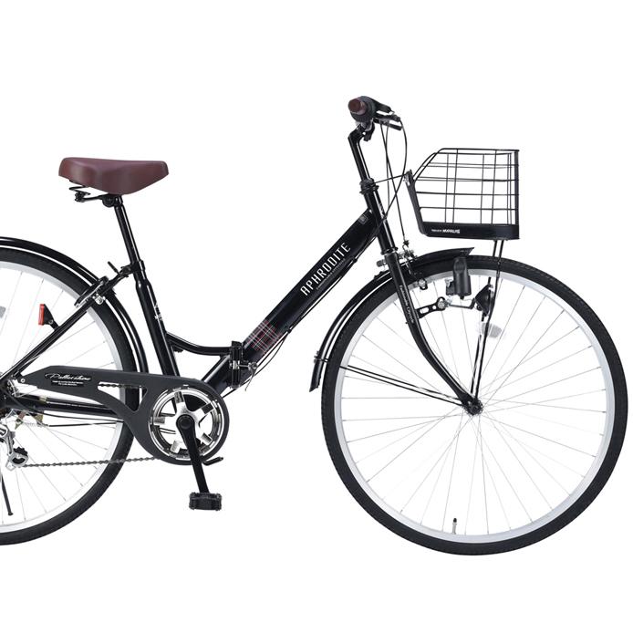 【セール】26インチ折畳自転車 M-507-BK(ブラック)6段ギア・肉厚チューブマイパラス【送料無料】おりたたみ自転車 バスケット/ライト/カギ パンクしにくい
