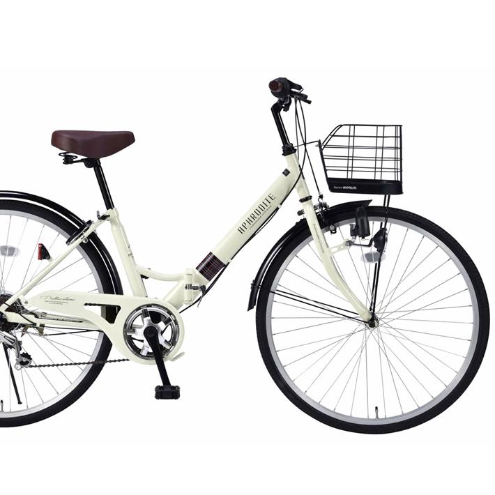 【セール】26インチ折畳自転車 M-507-IV(アイボリー)6段ギア・肉厚チューブマイパラス【送料無料】おりたたみ自転車 バスケット/ライト/カギ パンクしにくい