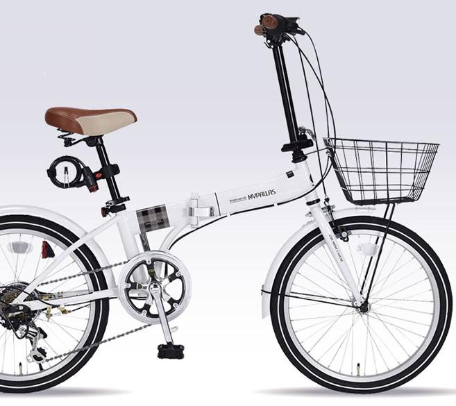20インチ折畳自転車 ホワイトMyPallas/マイパラス 20・6SP・オールインワン【送料込】20型 NOEL MF-206-W バスケット・ライト・カギ付 6段変速 折りたたみ2020年モデル