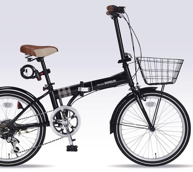 20インチ折畳自転車 ブラックMyPallas/マイパラス 6段変速 20・6SP・オールインワン【送料込】20型 バスケット・ライト・カギ付 NOEL MF-206-BK 折りたたみ2020年モデル