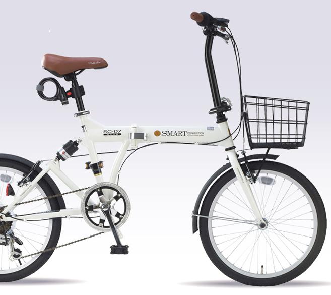 20インチ折畳自転車 SC-07PLUS-IV アイボリーMyPallas/マイパラス 20・6SP・リアサス・オールインワン【送料込】20型 6段変速 折りたたみ肉厚チューブ バスケット・ライト・カギ付