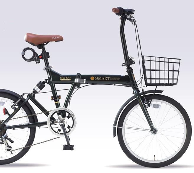 20インチ折畳自転車 SC-07PLUS-GR ダークグリーンMyPallas/マイパラス 20・6SP・リアサス・オールインワン【送料込】20型 6段変速 折りたたみ肉厚チューブ バスケット・ライト・カギ付