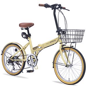 20インチ折りたたみ自転車 M-252-NA ナチュラルマイパラス20型6段変速ギア カギ ライト付き